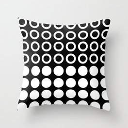 Mid Century Modern Circles And Dots Black & White Throw Pillow