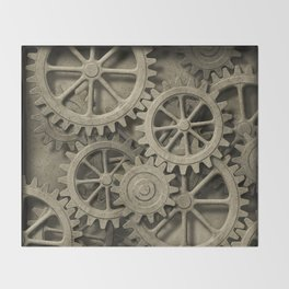 Steampunk Cogwheels Throw Blanket