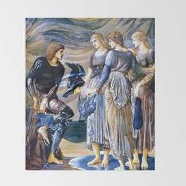"""Edward Burne-Jones """"Perseus and the Sea Nymphs (The Arming of Perseus)"""" Throw Blanket"""