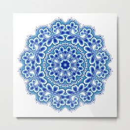 floral round ornament in blue colors. Metal Print