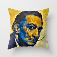 salvador dali Throw Pillows featuring salvador by KrisLeov