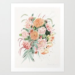 Fall Dahlia Bouquet Art Print