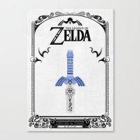the legend of zelda Canvas Prints featuring Zelda legend - Sword by Art & Be
