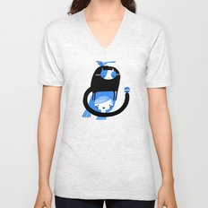 BLUE BIRD AND CAT ON HEAD Unisex V-Neck