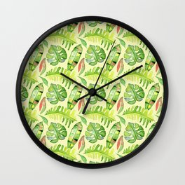 Hand painted green red watercolor tropical cheese leaves Wall Clock