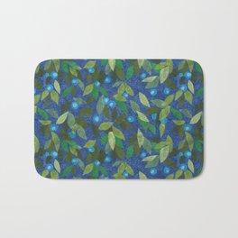 Blue Berry Paper Collage Floral Pattern Bath Mat