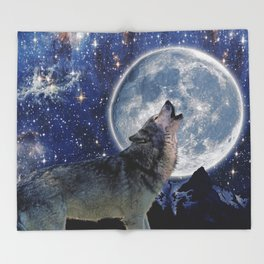 A One Wolf Moon Throw Blanket