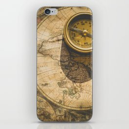 Vintage World Map with Old Compass iPhone Skin