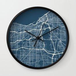 Cleveland Blueprint Street Map, Cleveland Colour Map Prints Wall Clock