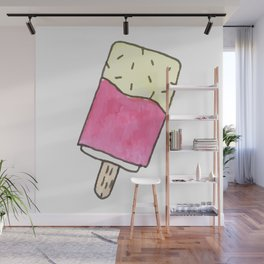 Cute pink candy and ice-cream Wall Mural