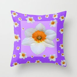 ULTRA VIOLET  WHITE DAFFODILS GARDEN ART Throw Pillow