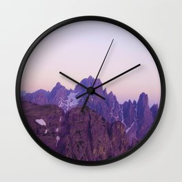 Mountains of Violet Wall Clock