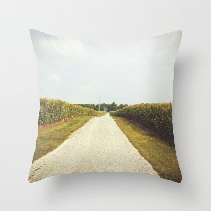 Indiana Corn Field Summers Throw Pillow