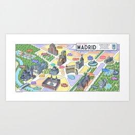 MADRID CITY by Javier Arrés. Madrid Map Illustration. Art Print