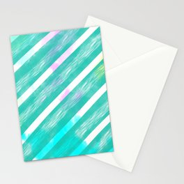 Ribbon Party - Teal and White Stripe Palette Stationery Cards