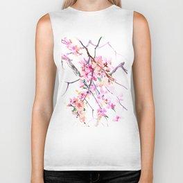 Cherry Blossom pink floral spring design cherry blossom decor Biker Tank