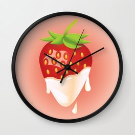 Strawberry covered with cream Wall Clock