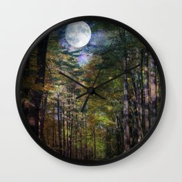 Magical Moonlit Forest Wall Clock
