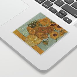 STILL LIFE: VASE WITH TWELVE SUNFLOWERS - VAN GOGH Sticker