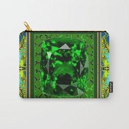 DECORATIVE  GREEN EMERALD GEM & BUTTERFLY ART DESIGN Carry-All Pouch
