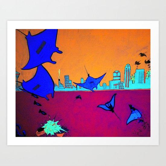 Manta Madness Art Print