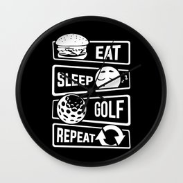 Eat Sleep Golf Repeat - Golf Ball Golf Course Putt Wall Clock