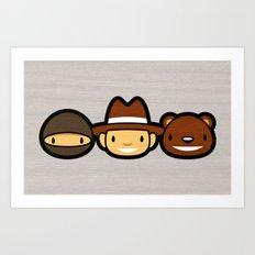 Ninja Cowboy Bear Art Print