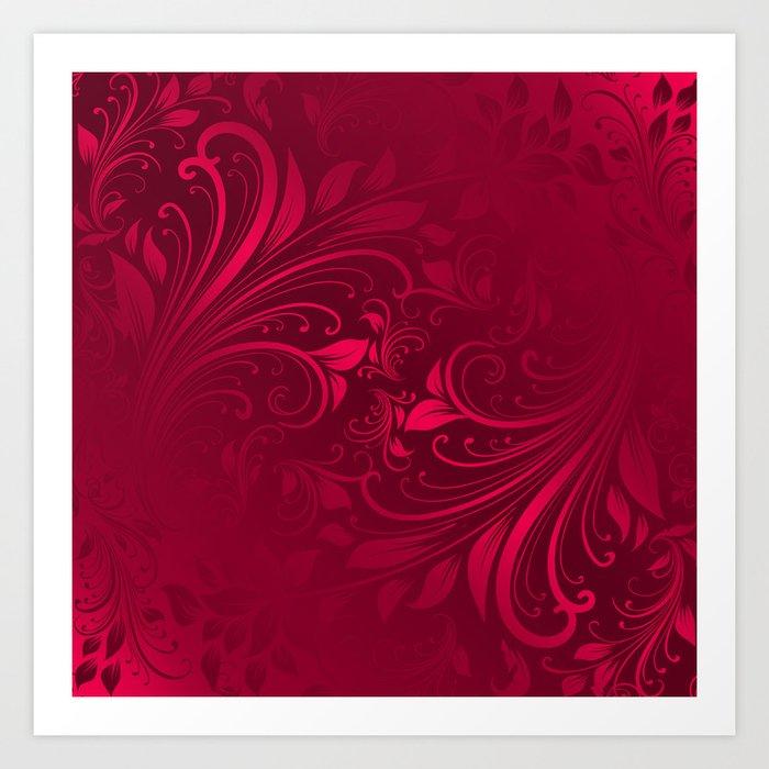 Red maroon swirls leaves Art Print