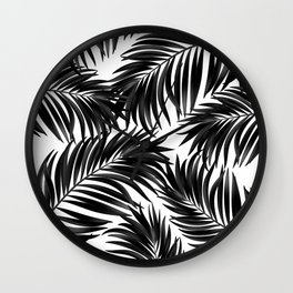 Palm Tree Fronds Black on White Maui Hawaii Tropical Graphic Design Wall Clock