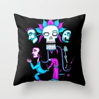 dia de los muertos Throw Pillows featuring Dia de los Muertos by Ken Seligson