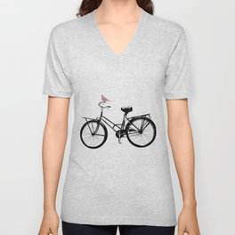 Baker's bicycle with bird Unisex V-Neck