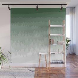 Green Ombré Forest Wall Mural