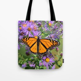 Monarch Butterfly on Wild Aster Flower Tote Bag
