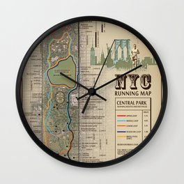 NYC Central Park Running Route Map Wall Clock