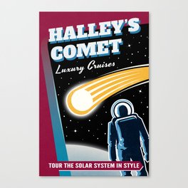 Halleys Comet Retro Space Travel Illustration Canvas Print