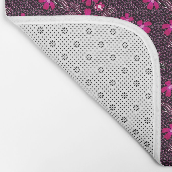 The floral pattern on the grid . Black and crimson pattern . Bath Mat