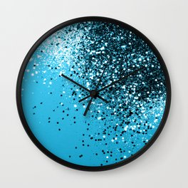 Sparkling BLUE OCEAN Glitter #2 #shiny #decor #art #society6 Wall Clock