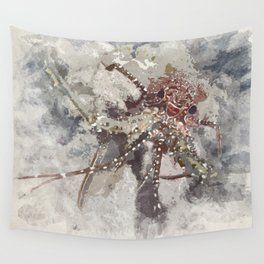 Lobster Watercolor Wall Tapestry