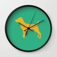 jack russell Wall Clocks featuring Jack Russell by Erin Rea