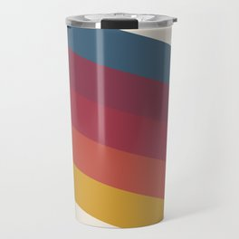 Manat - Colorful Classic Abstract Minimal Retro 70s Style Stripes Design Travel Mug