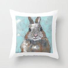 Fat Cat Bunny painting Throw Pillow