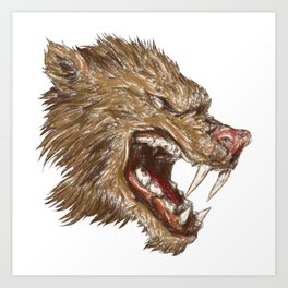 Head with sharp teeth Art Print
