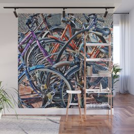 Lots of colorfull bycicles Wall Mural