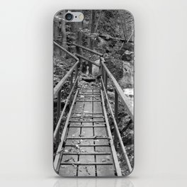 wooden bridge Fischbach, black and white photography iPhone Skin