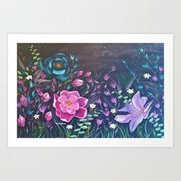 Moonlight Sonata, Bright flowers on Black, Night flowers, Bright floral on dark background Art Print