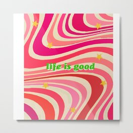 Life Is Good With Waves & Stars Metal Print