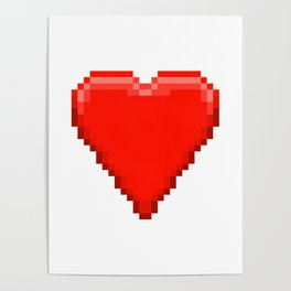 Retro Video Game Heart Pixel Art Poster