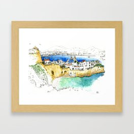 Ibiza old town end by the lighthouse Framed Art Print