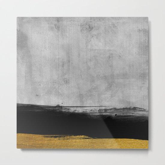 Black and Gold grunge stripes on modern grey concrete abstract backround I- Stripe- Striped Metal Print
