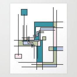 Untitled Line Composition- Mondrian Inspired Digital Illustration Art Print Art Print